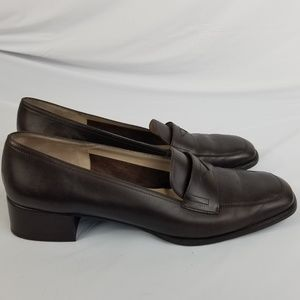 Salvatore Ferragamo Block Loafers Size 9.5 A Brown
